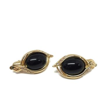 Vintage Trifari Black Glass and Rhinestone Clip On Earrings c1980's, Gold and Black Clips