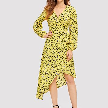 Surplice Neck Asymmetrical Hem Leopard Print Dress
