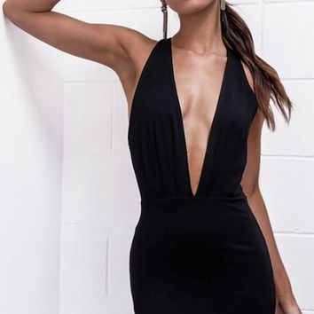 By Moonlight Black Sleeveless Plunge V Neck Backless Bodycon Mini Dress