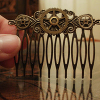 Steampunk Ornate Brass Gear Comb by punqd on Etsy