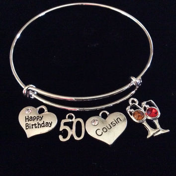 Happy 50th Birthday Cousin Expandable Silver Charm Bracelet Adjustable Bangle Gift Crystal Red and White Wine Glass