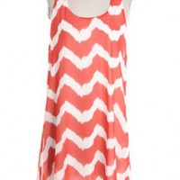 Cool Coral Chevron Slip Dress