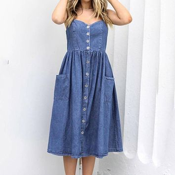 Casual denim dress women Straps backless fit and flare summer dress Female chic buttons midi dresses Vestidos mujer