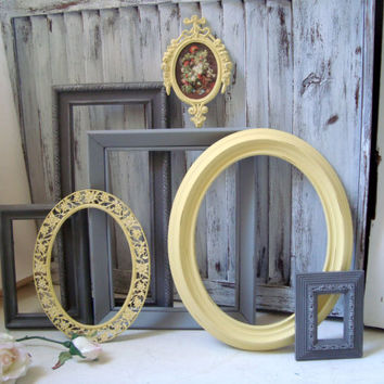 Yellow and Gray Frames, Gray and Yellow Painted Vintage Frames, Oval Frames, Nursery Decor, Grey and Yellow Decor, Cottage Chic Frame Set