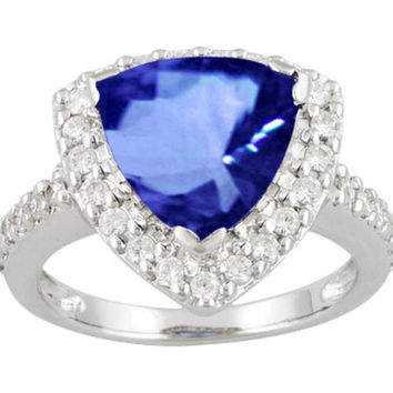 4.45 ct. trillion tanzanite diamonds engagement ring solitaire with accents