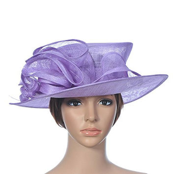 Topwedding Sinamay Bridal Church Derby Tea Party Hat with Ribbon Feather,Purple