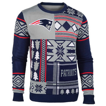 New England Patriots Forever Collectibles KLEW Patches Ugly Sweater Sizes S-XXL w/ Priority Shipping