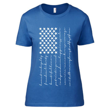 4th of July Independence Day Clothing - Patriot Flag Heart Crew Neck - Ladies