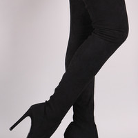 Pointy Toe Stiletto Suede Over-The-Knee Boots