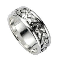 925 Sterling Silver 8 mm Braided Woven Wave Celtic Band Ring - Nickle Free