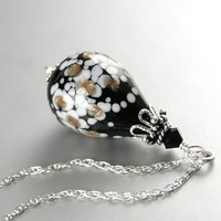 Hand Blown Black Glass Necklace Sterling Silver Jet Black and White Hollow Glass Pendant Necklace