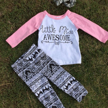Girls Boutique Outfit Aztec Little Miss Awesome Boutique Outfit Valentines Outfit Pink Aztec Leggings