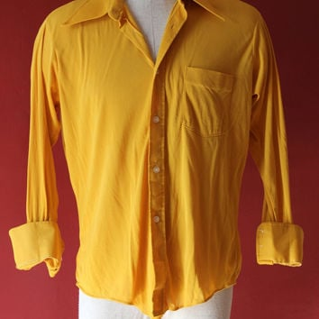 60's madmen mellow yellow soft and cool button up sz L groovy