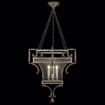 Fine Art Lamps 811940ST Villa Vista Six-Light Lantern in Hand Painted Driftwood Finish On Metal with Silver Leafed Accents