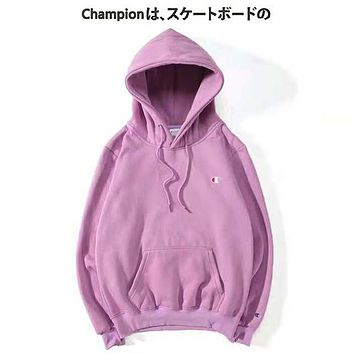 Champion New fashion bust embroidery logo couple hooded long sleeve sweater Light Purple