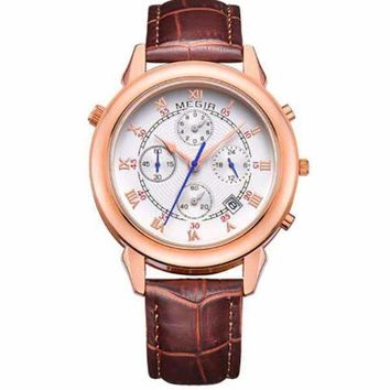 Mens Quartz Wristwatch Watch Leather Bracelet