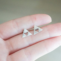 SHOP OPENING SALE triforce earrings tri force triangle stud gold silver post gift for her women earrings boho chic minimalist silver stud