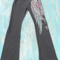 fold over yoga pants with tattoo print | Elusive Cowgirl