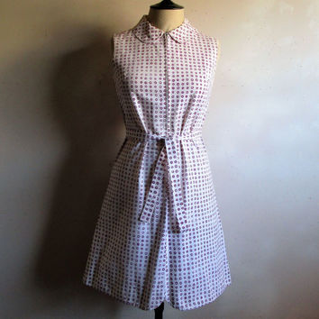 60s MARIMEKKO Cotton Dress White Magenta Polka Dot 1960s Gogo Mini Summer Dress Small Made in Finland
