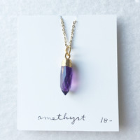 Faceted amethyst spike gold dipped - trunk show