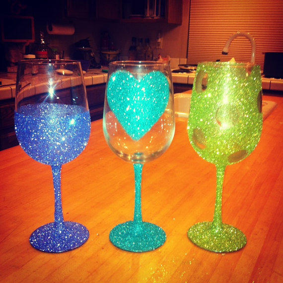 Decorative Wine Glasses From MKglitznglamour On Etsy