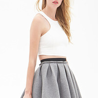 FOREVER 21 Structured Skater Skirt Heather Grey Small