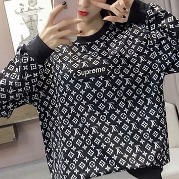 LMFCG8 Supreme LV  Embroidered LOGO street tide licensing round neck hedging loose male and female couples super soft plus cashmere sweater