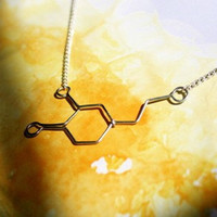 Dopamine Love Molecule Necklace - Pleasure, Passion, Adventure - Silver Chemical Jewelry - Gift for her, christmas gift, under 30