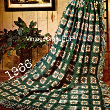 1966 Crochet Pattern | Classic Afghan Goes Modern | Blanket Pattern-Gypsy Decor-Hippie Home Decor-Bedspread Pattern-Crochet Pattern USA