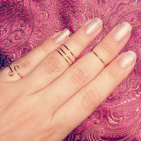 Set of 5 knuckle rings, midi, adjustable, silver, gold, stackable
