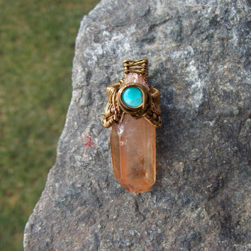 Wire Wrapped Pendant with Tangerine Aura Quartz Crystal and Turquoise // Heady WireWrap Jewlery