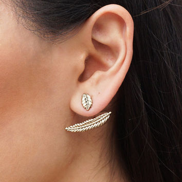 Stylish Simple Design Metal Leaf Earring Accessory [4918495364]