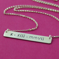 Roman Numeral Date Necklace in Sterling Silver - personalized necklace