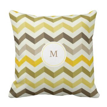 Yellow Monogram Chevron Pattern Throw Pillow