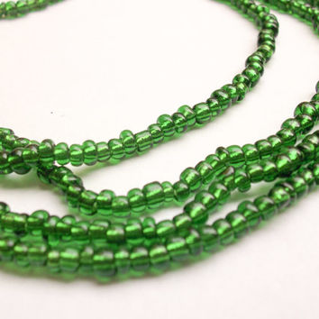 Emerald Green Murano glass beads from Venice, Italy