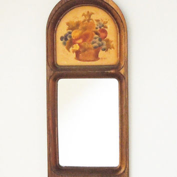 Wooden mirror with fruit basket accent - Cottage chic decor Farm house style decor