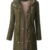 LE3NO Womens Water Resistant Long Sleeve Parka Coat Jacket with Faux Fur Lining