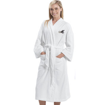 Embroidered Initial Terry Cloth Cotton Robe