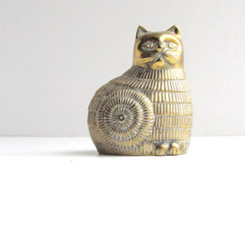 vintage lisa larson style brass cat paper weight