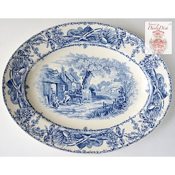 Blue Transferware Rural Scenes Platter Children Horses - Vintage Transferware Platter - Farmhouse Kitchen Decor