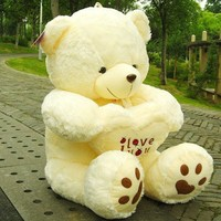 Stuffed Beige Lovely Big Plush Teddy Bear Soft Gift for Valentine Day Birthday