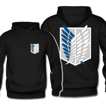 Cotton Fashion Anime Attack on Titan Logo Hoody Fashion Wings of Liberty Hoodies Pullover For Teenages