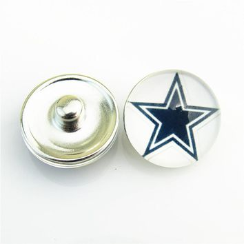 DIY fashion 20pcs Dallas Cowboys Team 18mm glass Logo Football Snap Buttons Sports Charms Fit For Women Button Snaps Bracelet