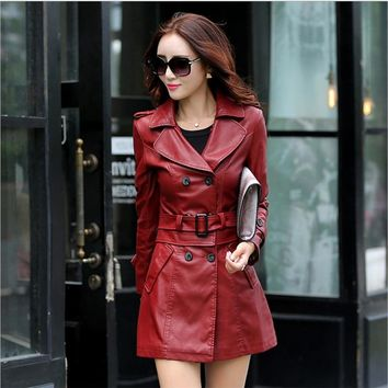 Faux Leather Trench Coat Womens