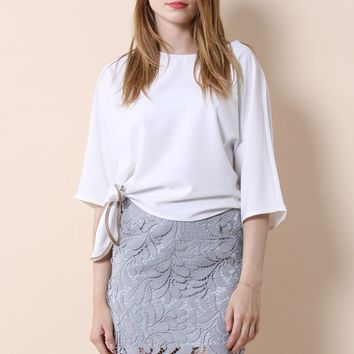 Batwing Bow Top in White