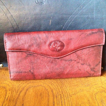 Buxton Ladies Wallet - genuine cawhide leather wallet - wine color