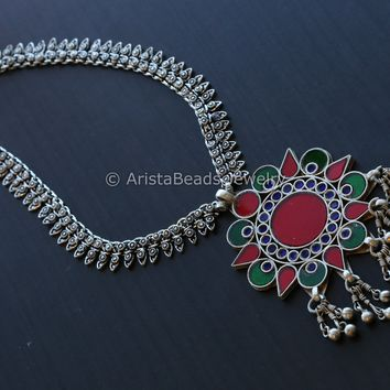 Red Blue Glass Chain Necklace