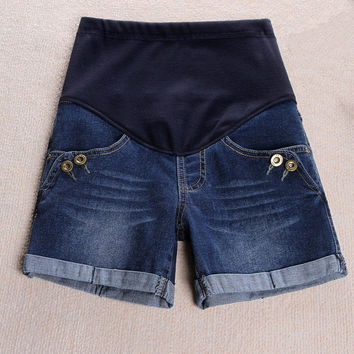 Maternity Clothing Summer Denim New Shorts For Pregnant Fashion Button 2016 Prop Belly Jeans Solid Pocket Comfortable Gravida