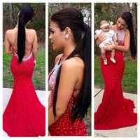 Fast Shipping Sexy Backless Red Halter Long Mermaid Prom Dresses 2016 New Design Party Evening Gown E60