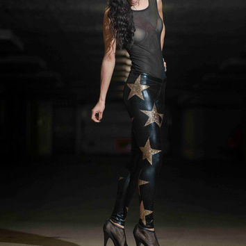 Holographic Star Leggings, Gold Hologram and Black Spandex Pants, Glam Rock Stage Outfit, Heavy Metal Club Wear, Meggings, by LENA QUIST